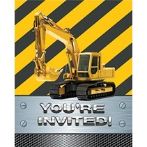 ***Construction Zone Foil Invitations 8ct