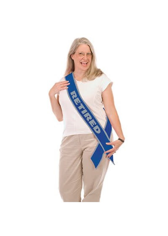 ****Retirement Sash Blue & Silver