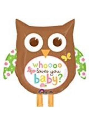 ***Owl Who Loves You Baby Jumbo Mylar Balloon