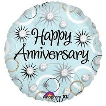 "***Happy Anniversary Diamonds 18"" Mylar Balloon"