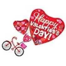 "**Happy Valentine Bike 30"" Jumbo Mylar Balloon"