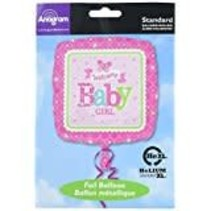 "***Welcome Baby Girl Square 18"" Mylar Balloon"