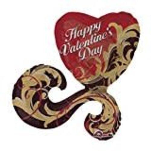 **Gold Damask Valentine Jumbo Mylar Balloon