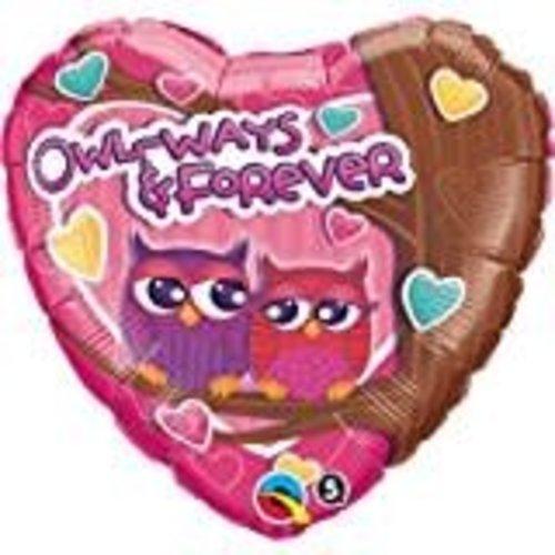 *Owl-ways & Forever Heart Shape Mylar Balloon