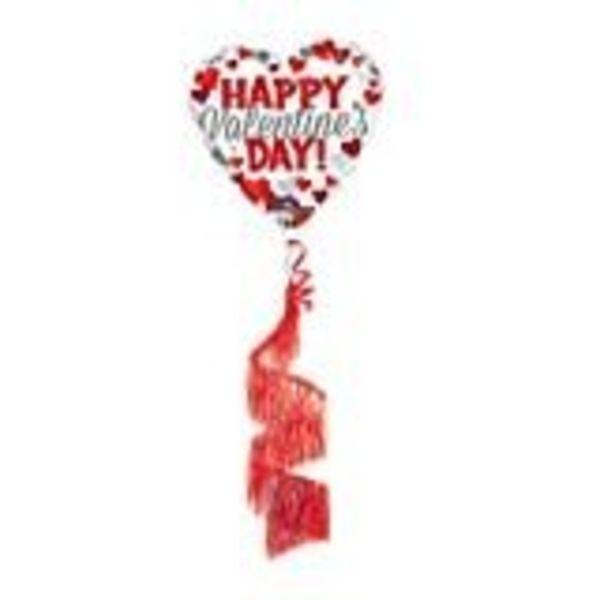 **Valentine Coil Tail Mylar Balloon