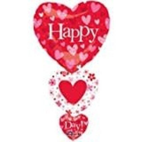 **Cascading Hearts Valentine Mylar Balloon