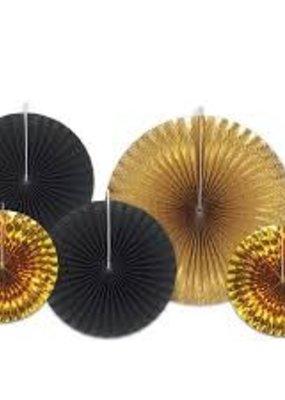 ***Assorted Black & Gold Paper & Foil Fans