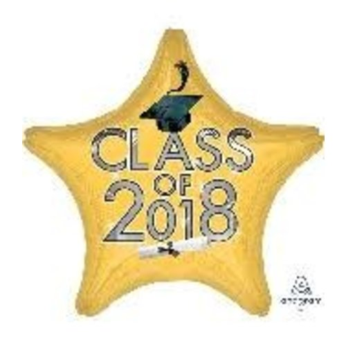 *Class of 2018 Yellow Star Graduation Mylar Balloon