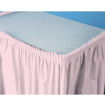 ***Classic Pink 14ft Plastic Table Skirt