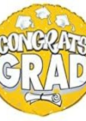 "***Congrats Grad Yellow 18"" Mylar Balloon"
