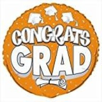 "***Congrats Grad Orange 18"" Mylar Balloon"