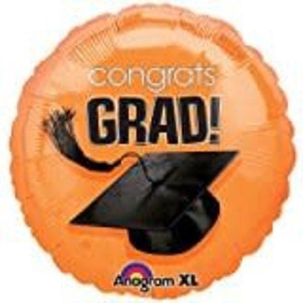"*Congrats Grad Orange & Black 18"" Mylar Balloon"