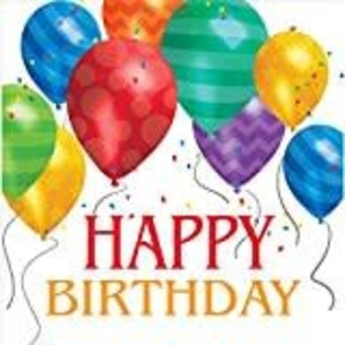 *Happy Birthday Balloon Blast Lunch Napkin 16ct
