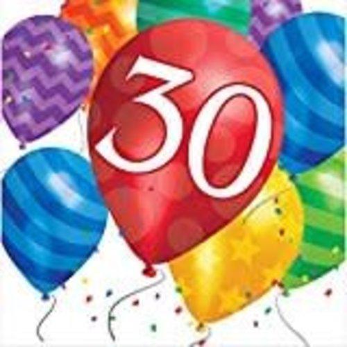 *Balloon Blast 30 Lunch Napkin 16ct
