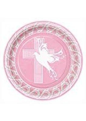 "****Dove Cross Pink 9"" Dinner Plates 8ct"