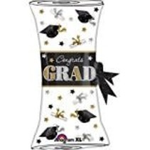 "*Black White Festive Grad Diploma 31"" Mylar Balloon"