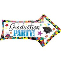 "*Graduation Party 31"" Arrow Shape Mylar Balloon"