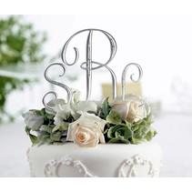 Small Silver Rhinestone Monogram Small Cake Topper