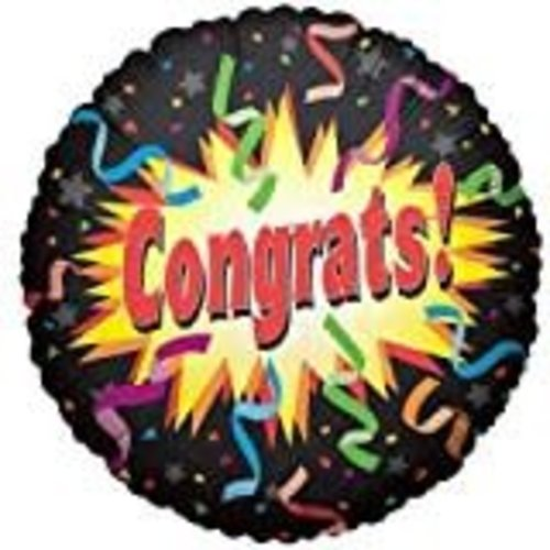 "*Congrats Black Streamer 18"" Mylar Balloon"