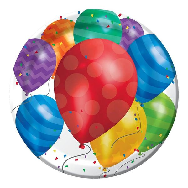 "Balloon Blast 9"" paper dinner plate 8ct"