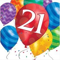 ***Balloon Blast 21st Lunch Napkins 16ct
