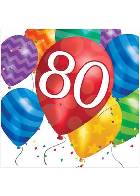 ***Balloon Blast 80th Lunch Napkins 16ct