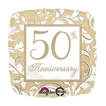 Gold Scroll 50th Anniversary Mylar Balloon