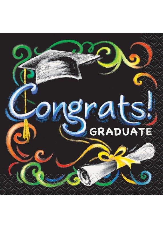 ****Chalkboard Graduation Beverage Napkins 16ct