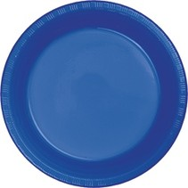"*Cobalt Plastic 10"" Banquet Plates 20ct"