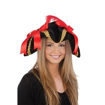 *Ladies Black Pirate Hat with Red Bows and Feather