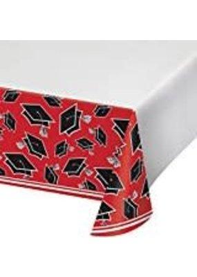 ***Red Grad School Spirit Plastic Tablecover