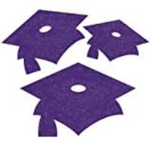 Purple Grad Cap Glitter Mini Cutouts 12ct