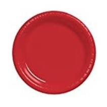 """***Classic Red 10"""" Plastic Banquet Plates 20ct"""