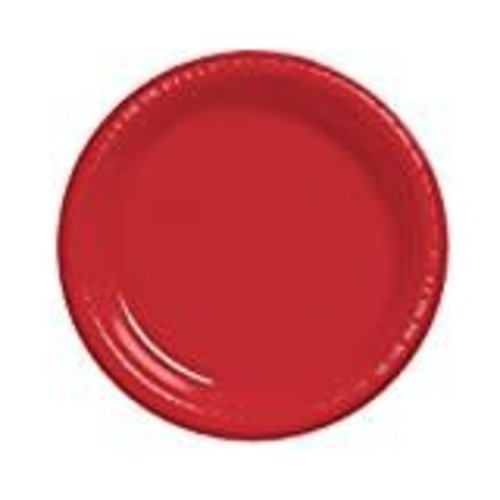 """*Classic Red 10"""" Plastic Banquet Plates 20ct"""