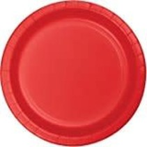 "*Classic Red 7"" Paper Dessert Plates 24ct"