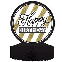 Black and Gold Happy Birthday Centerpiece
