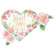 """Floral Baby Girl 27"""" Jumbo Mylar"""