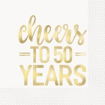 ***Cheers to 50 Years Gold Ink on White Lunch Napkins 16ct