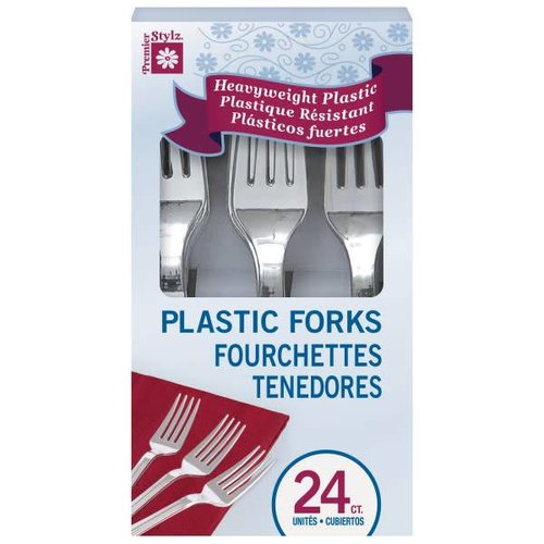 Boxed Silver Plastic Forks 24ct.