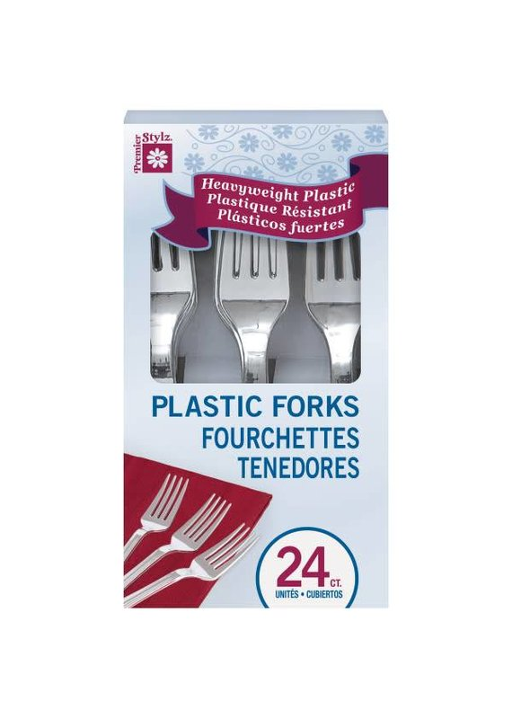 ***Boxed Chrome Plastic Forks 24ct.