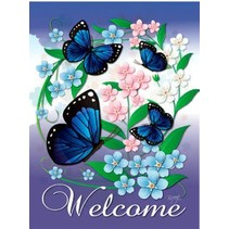 *Blue Butterflies Garden Flag