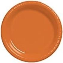 """***Sunkissed Orange 10"""" Plastic Banquet Plates 20ct"""