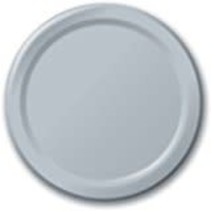 "***Shimmering Silver 7"" Paper Plates 24ct"