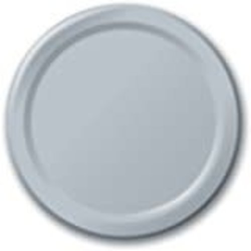 "*Shimmering Silver 7"" Paper Plates 24ct"