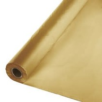 ***Glittering Gold 100' Roll Plastic Tablecover