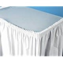 White 14' Plastic Table Skirt