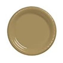 "***Glittering Gold 7"" Plastic Dessert Plates 20ct"