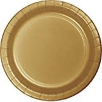 "Glittering Gold 7"" Round Paper Plates 24ct"