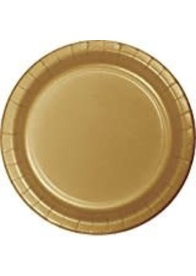 "***Glittering Gold 7"" Paper Dessert Plates 24ct"