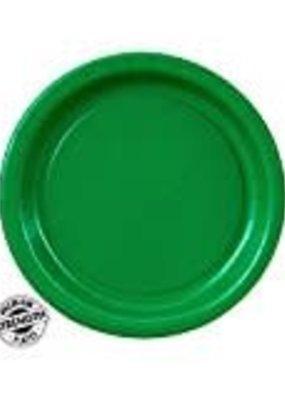 """***Emerald Green 7"""" Round Paper Dessert Plates 24ct"""